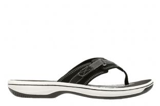 Clarks Womens Brinkley Sea Black Synthetic Sandals